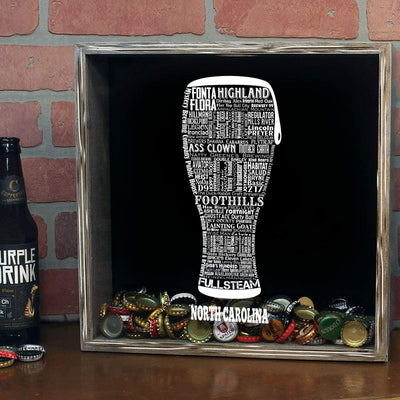 Torched Products Shadow Box North Carolina Beer Typography Shadow Box (779428888693)