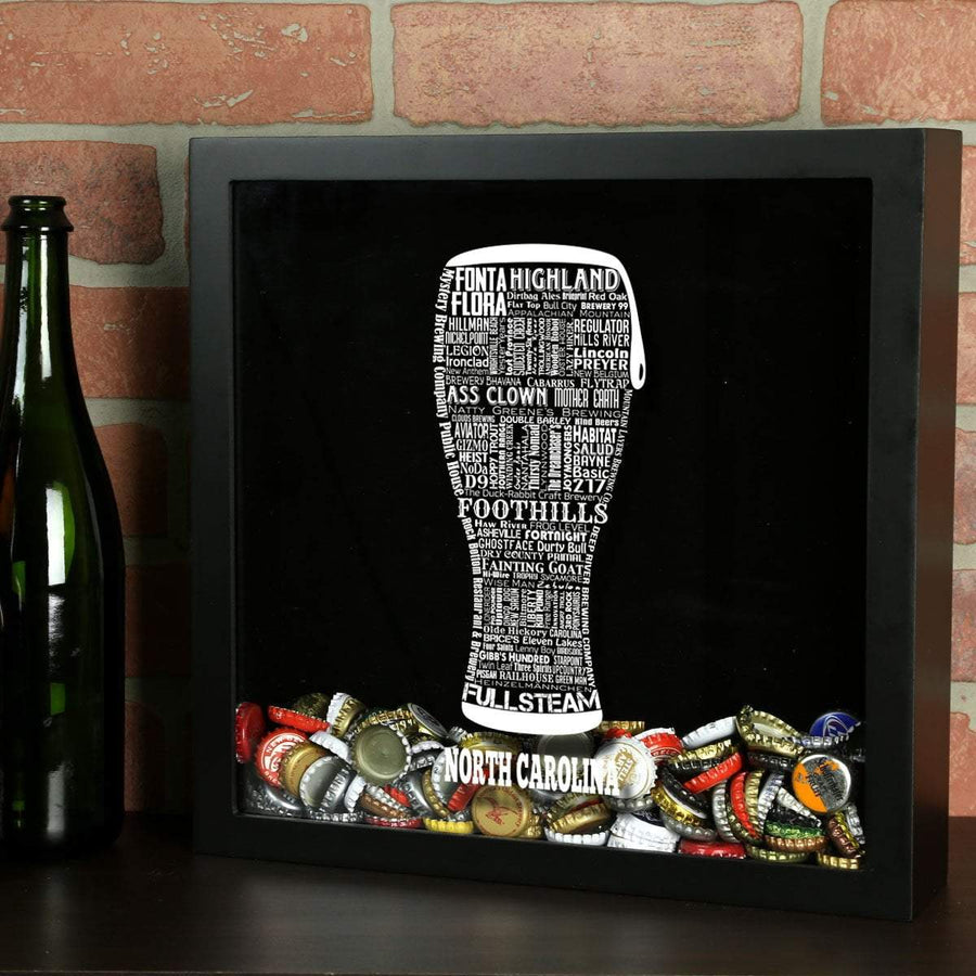 Torched Products Shadow Box Black North Carolina Beer Typography Shadow Box (779428888693)