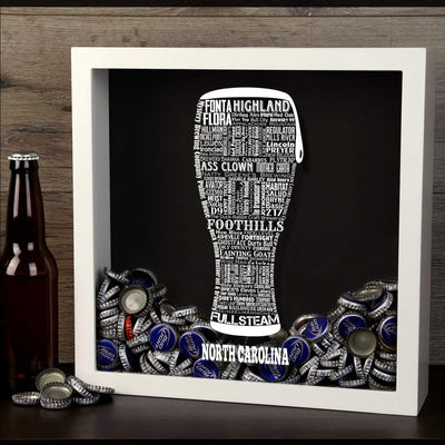 Torched Products Shadow Box North Carolina Beer Typography Shadow Box