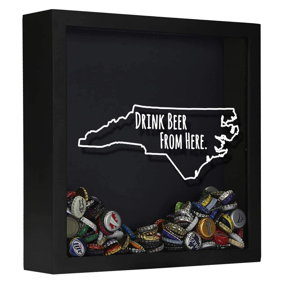d22c3956d3b47 North Carolina Drink Beer From Here Beer Cap Shadow Box