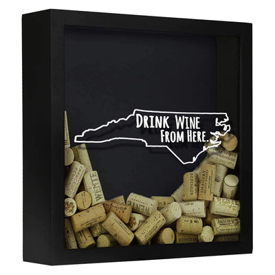 Torched Products Shadow Box Black North Carolina Drink Wine From Here Wine Cork Shadow Box (795772584053)