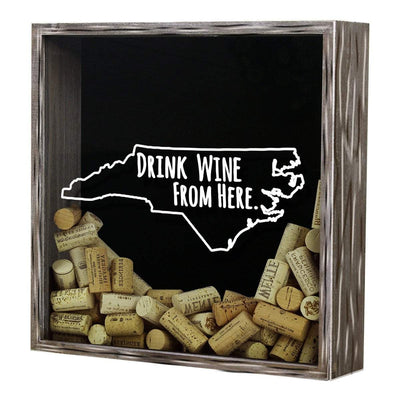 Torched Products Shadow Box North Carolina Drink Wine From Here Wine Cork Shadow Box (795772584053)