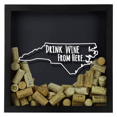 Torched Products Shadow Box North Carolina Drink Wine From Here Wine Cork Shadow Box