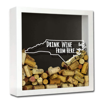 Torched Products Shadow Box White North Carolina Drink Wine From Here Wine Cork Shadow Box (795772584053)