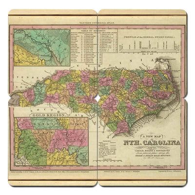 Torched Products Coasters North Carolina Old World Map Coaster (790594322549)