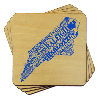 Torched Products Coasters North Carolina State Typography Coaster