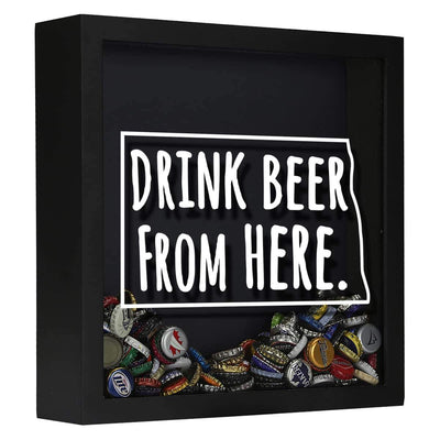 Torched Products Shadow Box Black North Dakota Drink Beer From Here Beer Cap Shadow Box