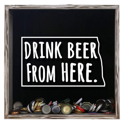 Torched Products Shadow Box Gray North Dakota Drink Beer From Here Beer Cap Shadow Box