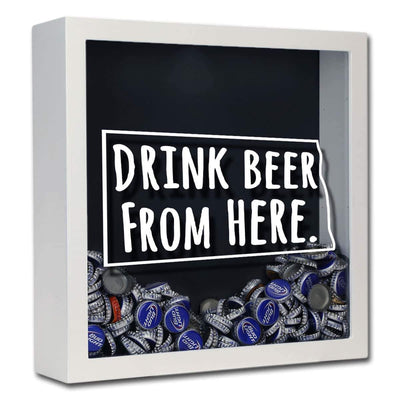 Torched Products Shadow Box White North Dakota Drink Beer From Here Beer Cap Shadow Box (781181419637)