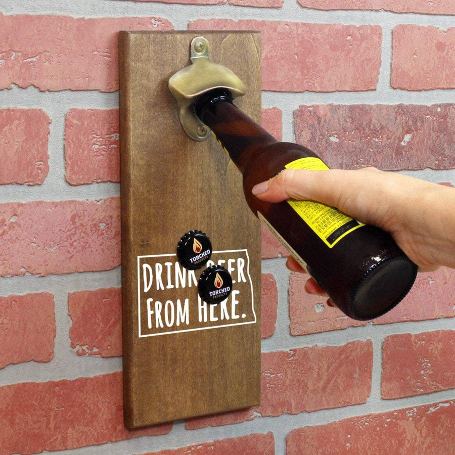 Torched Products Bottle Opener Default Title North Dakota Drink Beer From Here Cap Catching Magnetic Bottle Opener (781497008245)