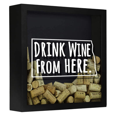 Torched Products Shadow Box Black North Dakota Drink Wine From Here Wine Cork Shadow Box (795773108341)