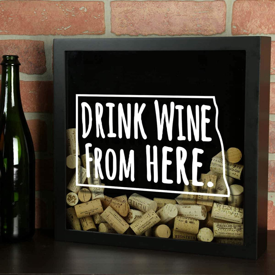 Torched Products Shadow Box Black North Dakota Drink Wine From Here Wine Cork Shadow Box