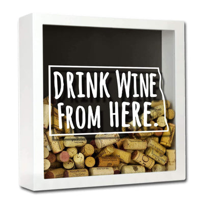 Torched Products Shadow Box White North Dakota Drink Wine From Here Wine Cork Shadow Box (795773108341)
