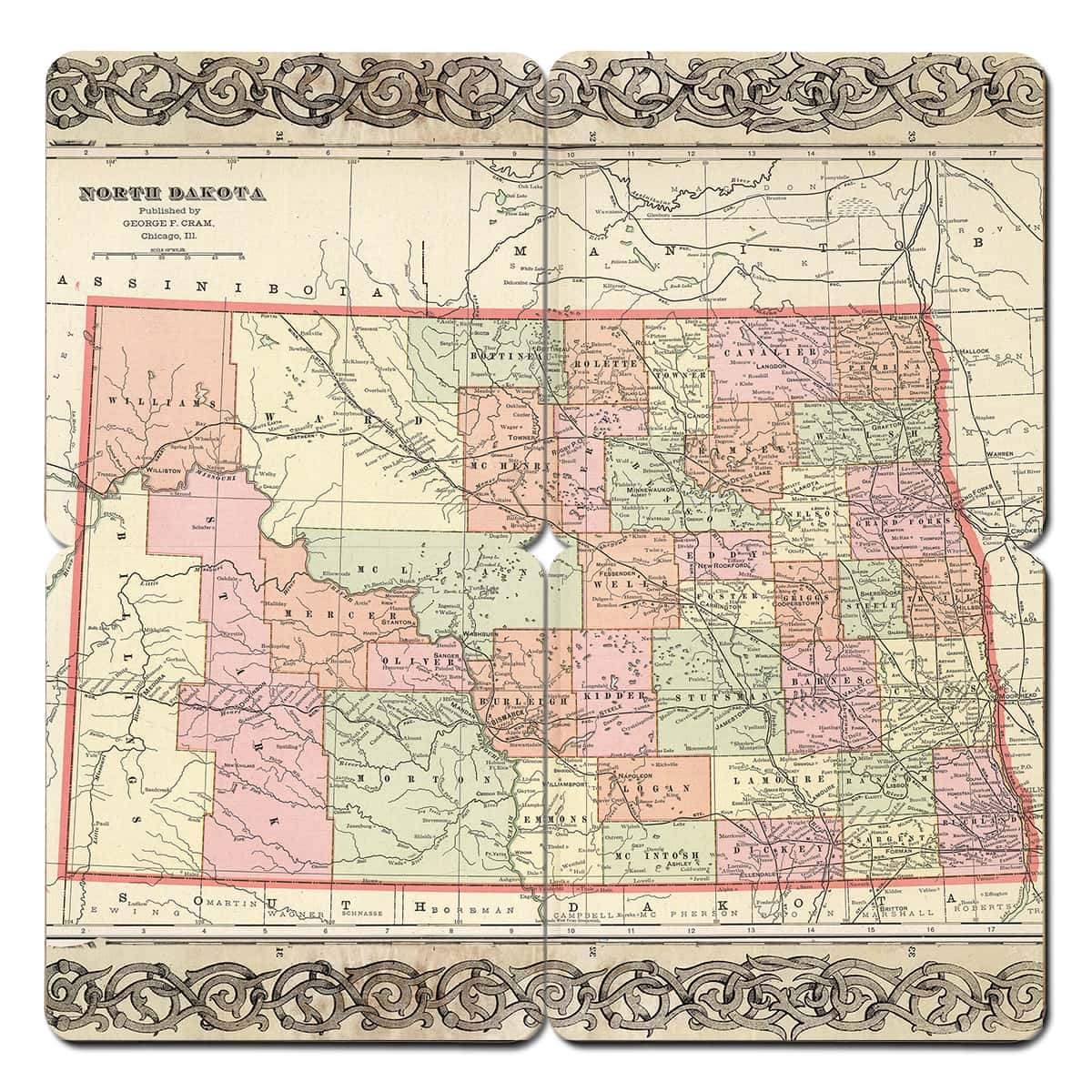 North Dakota Old World Map Coaster