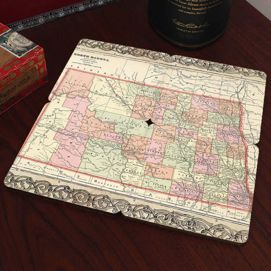 Torched Products Coasters North Dakota Old World Map Coaster (790594420853)
