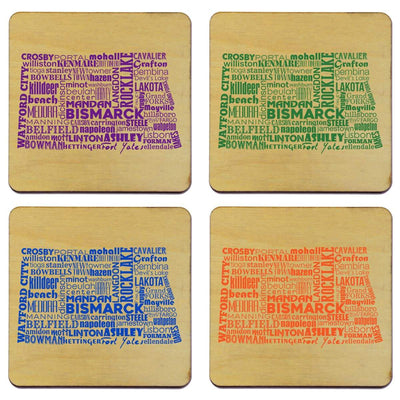 Torched Products Coasters North Dakota State Typography Coaster (787834994805)