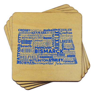 Torched Products Coasters North Dakota State Typography Coaster