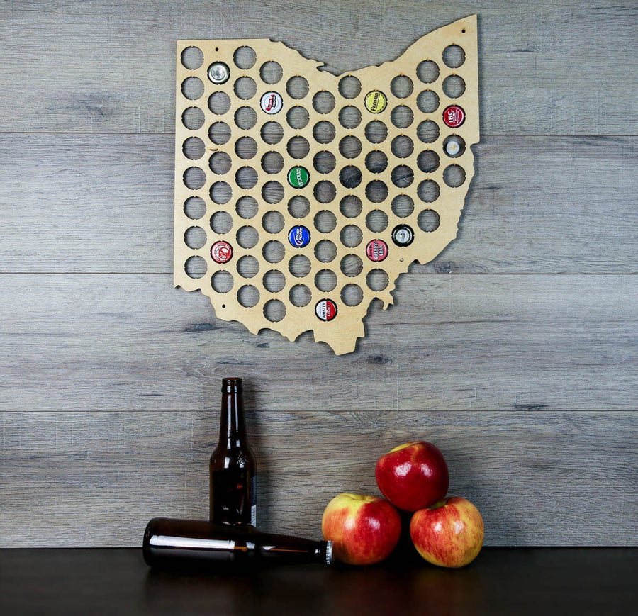 Torched Products Beer Bottle Cap Holder Ohio Beer Cap Map
