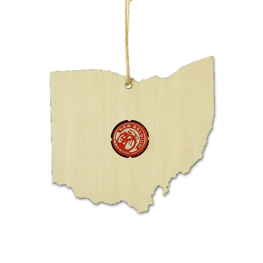 Torched Products Beer Cap Maps Ohio Beer Cap Map Ornaments