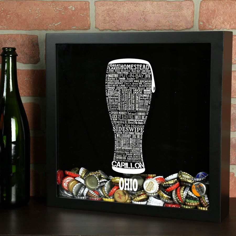 Torched Products Shadow Box Black Ohio Beer Typography Shadow Box