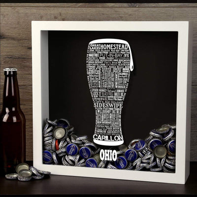 Torched Products Shadow Box Ohio Beer Typography Shadow Box