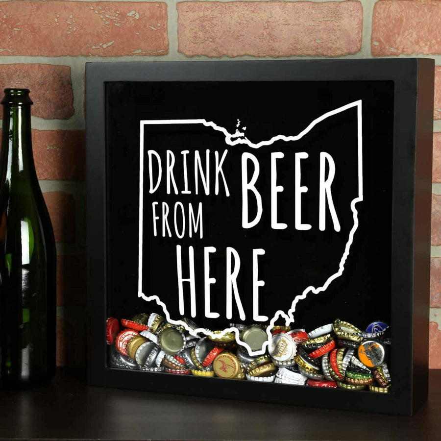 Torched Products Shadow Box Black Ohio Drink Beer From Here Beer Cap Shadow Box (781182697589)