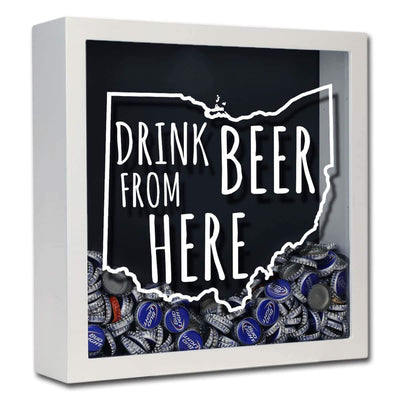 Torched Products Shadow Box White Ohio Drink Beer From Here Beer Cap Shadow Box