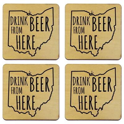 Torched Products Coasters Ohio Drink Beer From Here Coasters