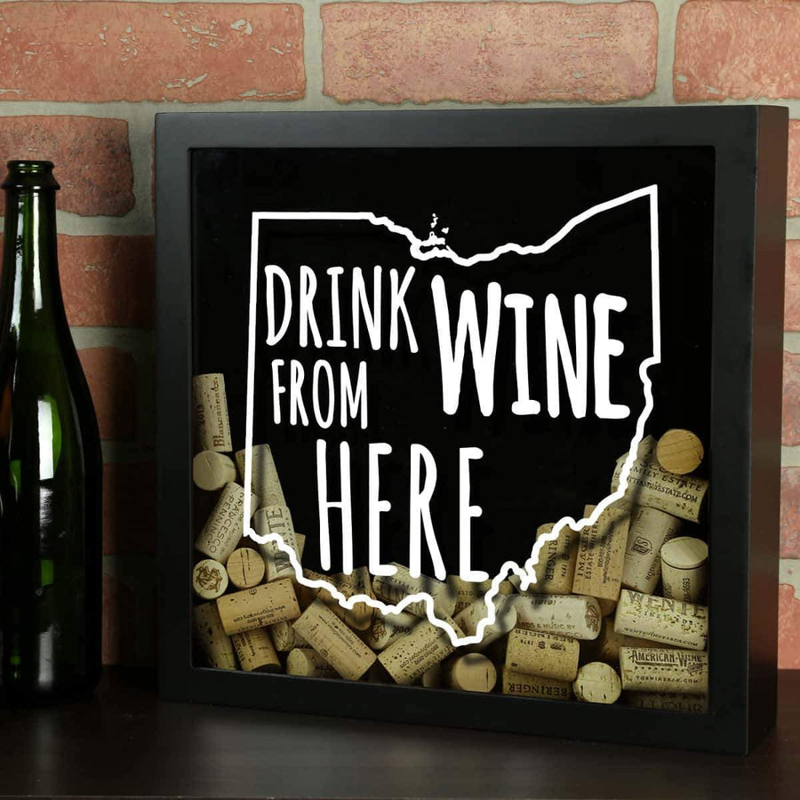 Torched Products Shadow Box Black Ohio Drink Wine From Here Wine Cork Shadow Box (795782316149)