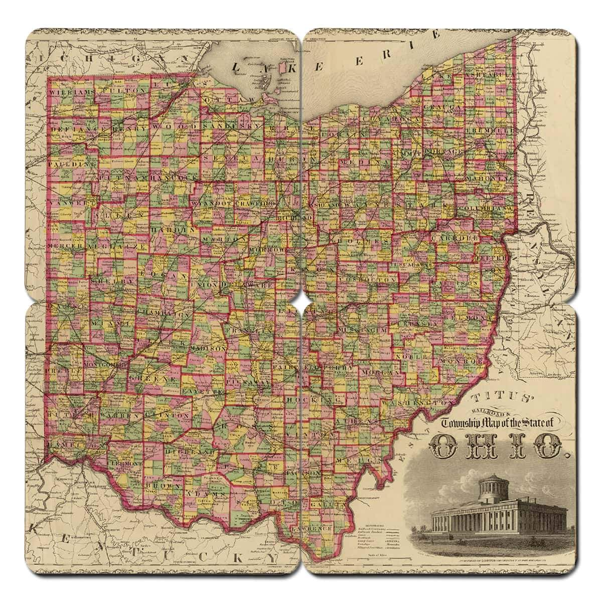 Ohio Old World Map Coaster Torched Products