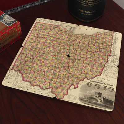 Torched Products Coasters Ohio Old World Map Coaster