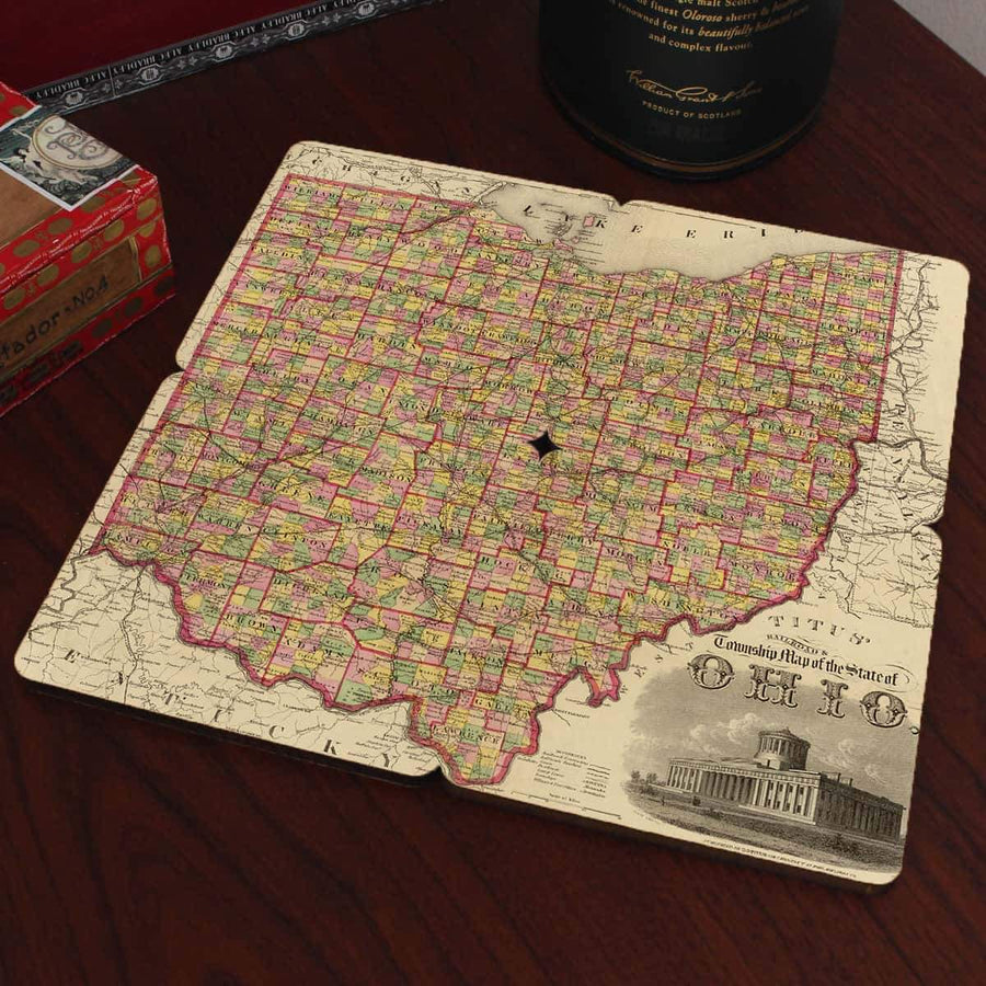 Torched Products Coasters Ohio Old World Map Coaster (790595600501)