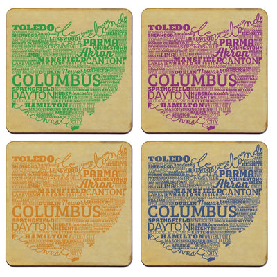 Torched Products Coasters Ohio State Typography Coaster (787835289717)