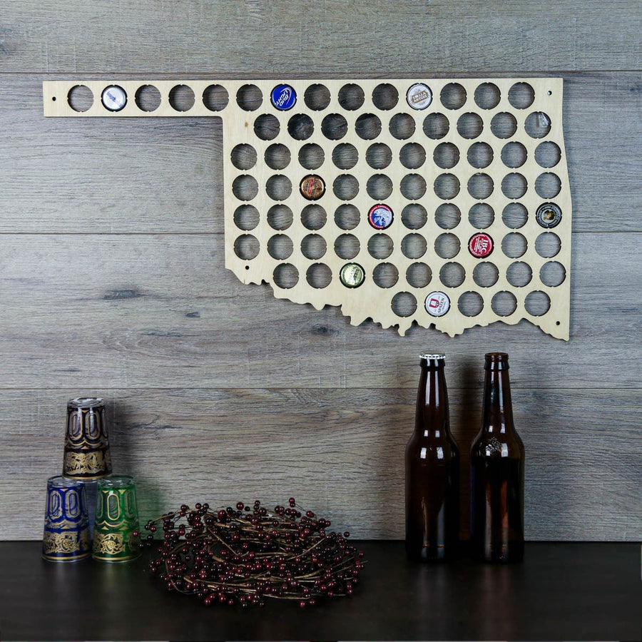 Torched Products Beer Bottle Cap Holder Oklahoma Beer Cap Map