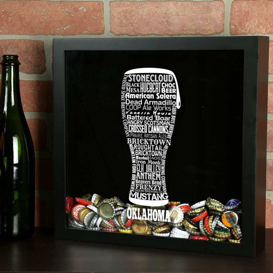 Torched Products Shadow Box Black Oklahoma Beer Typography Shadow Box