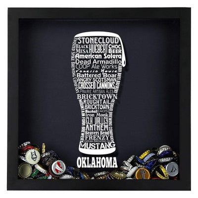 Torched Products Shadow Box Oklahoma Beer Typography Shadow Box