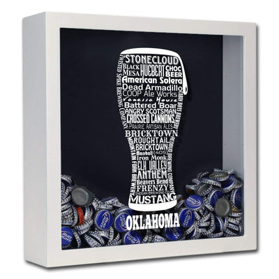 Torched Products Shadow Box White Oklahoma Beer Typography Shadow Box