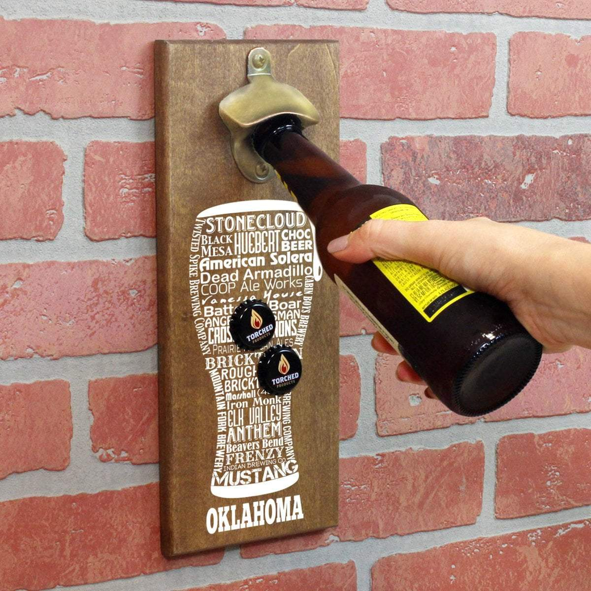 Torched Products Bottle Opener Default Title Oklahoma Craft Beer Typography Cap Catching Magnetic Bottle Opener (789185724533)