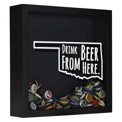 Torched Products Shadow Box Black Oklahoma Drink Beer From Here Beer Cap Shadow Box (781183123573)