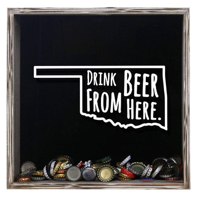 Torched Products Shadow Box Gray Oklahoma Drink Beer From Here Beer Cap Shadow Box (781183123573)