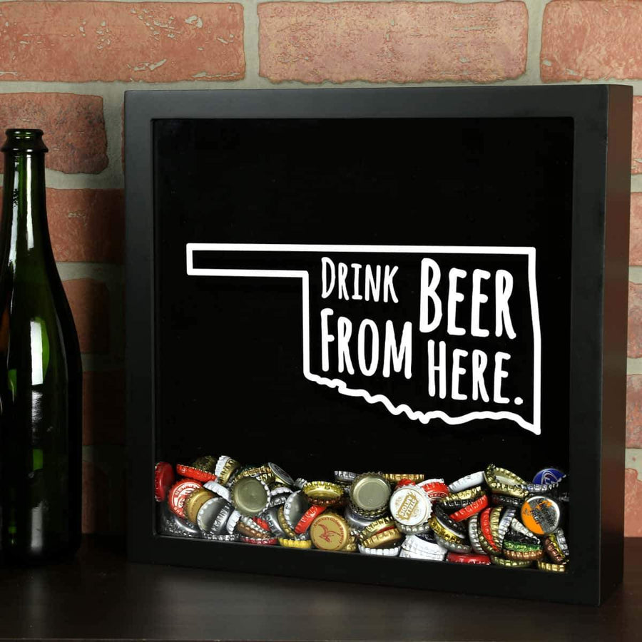 Torched Products Shadow Box Black Oklahoma Drink Beer From Here Beer Cap Shadow Box
