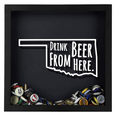 Torched Products Shadow Box Oklahoma Drink Beer From Here Beer Cap Shadow Box