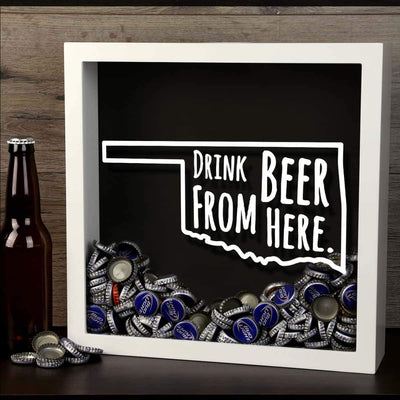 Torched Products Shadow Box Oklahoma Drink Beer From Here Beer Cap Shadow Box (781183123573)
