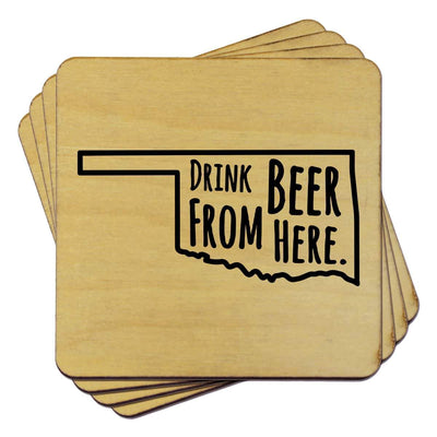 Torched Products Coasters Oklahoma Drink Beer From Here Coasters
