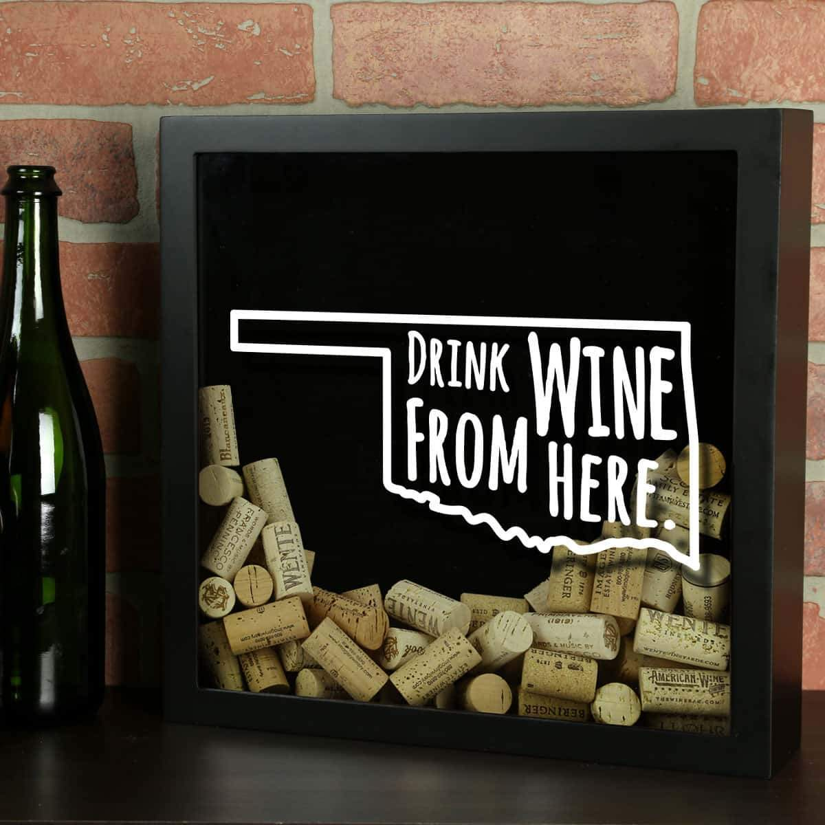 Torched Products Shadow Box Oklahoma Drink Wine From Here Wine Cork Shadow Box (795782938741)