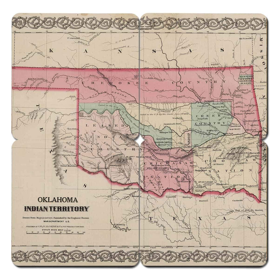 Torched Products Coasters Oklahoma Old World Map Coaster