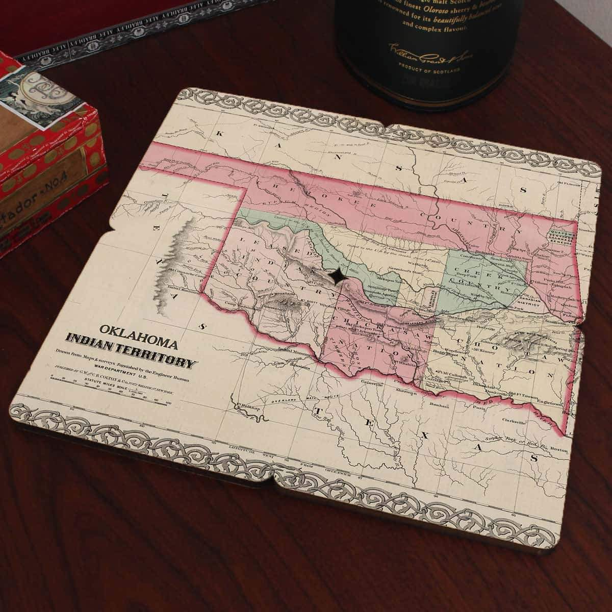 Torched Products Coasters Oklahoma Old World Map Coaster (790595895413)