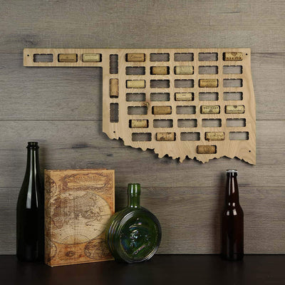 Torched Products Wine Cork Map Oklahoma Wine Cork Map