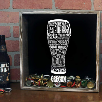 Torched Products Shadow Box Oregon Beer Typography Shadow Box (779431608437)