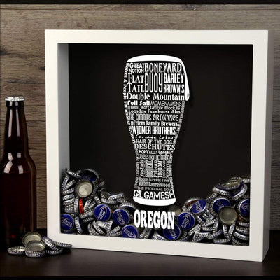 Torched Products Shadow Box Oregon Beer Typography Shadow Box